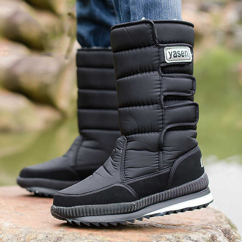 Men snow boots thick plush waterproof slip-resistant winter shoes men boots size 36 - 47 Botas de hombre for -40 degrees