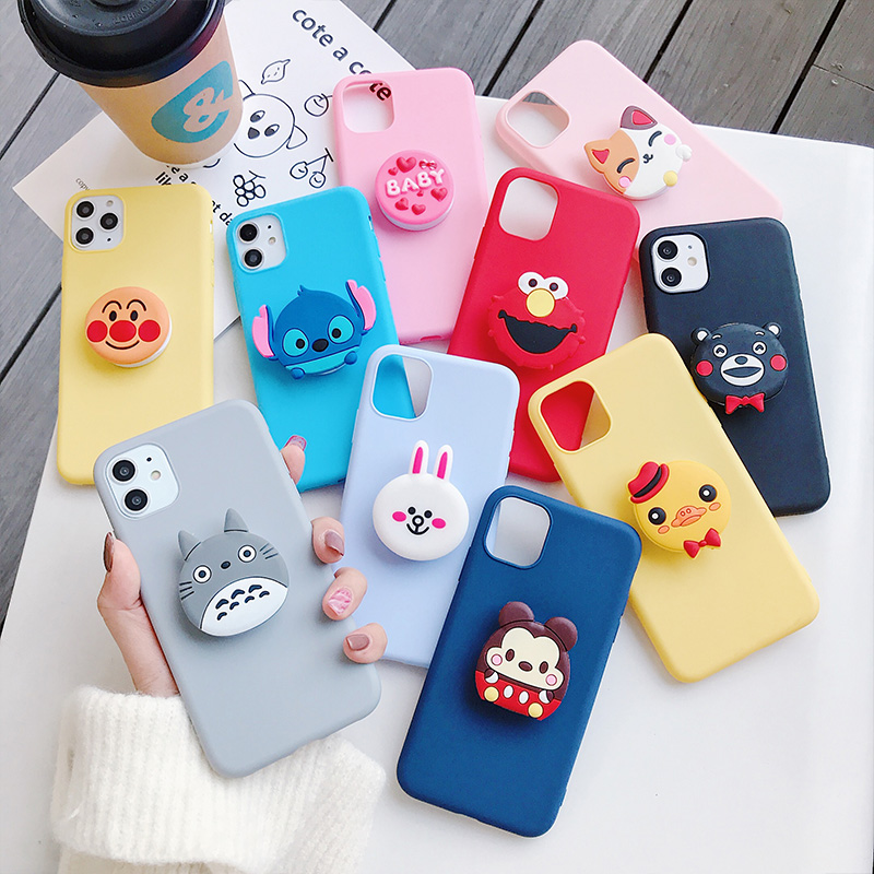 3D silicone cartoon phone holder <font><b>case</b></font> for <font><b>samsung</b></font> J3 2015 J7 J310 J4 J6 NOTE5 <font><b>NOTE8</b></font> NOTE9 NOTE10 PLUS cute stand soft back cover image