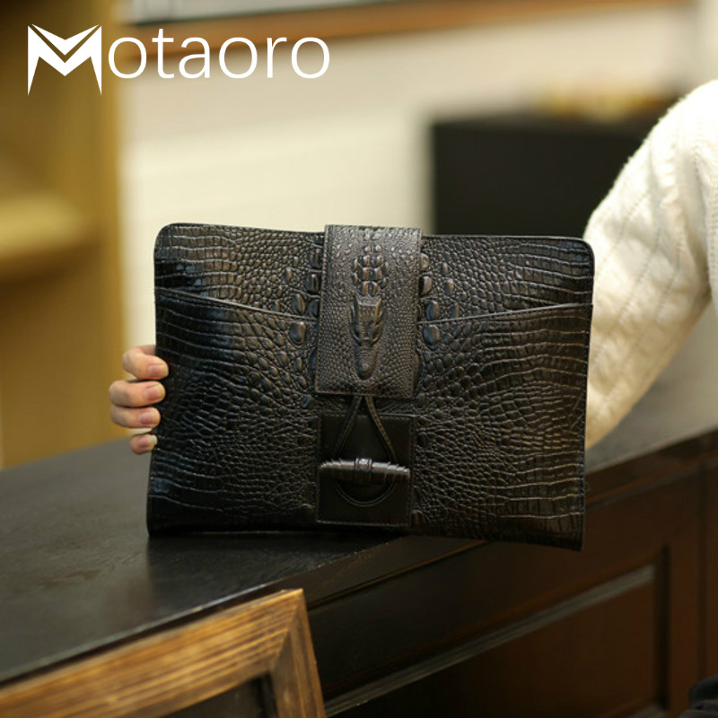 New Trend Men And Women Leather Briefcases Small Bag Crocodile Grain Hand Bag Male Briefcase For 9.7