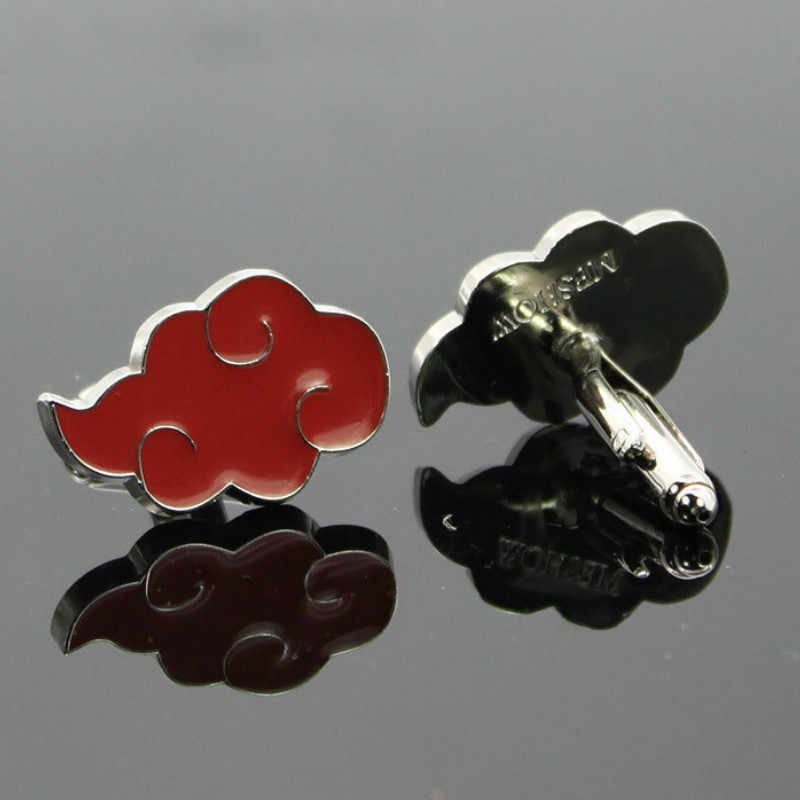 Japan Anime Naruto Manchetknopen Akatsuki Lid Manchetknopen Red Cloud Manchet Cosplay Props Badge Broche Manchet Knoppen Pins