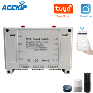 Image 1 - 4CH Smart Wifi Switch Wifi Light Switch 4 Gang 3 Working Modes Inching Interlock Smart Home With Alexa For Home Automaion Tuya