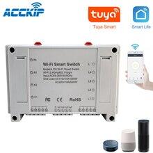 Interruptor inteligente Wifi de 4 canales para el hogar, interruptor de luz inteligente con Wifi de 4 entradas y 3 modos de trabajo, cierre automático para el hogar, Alexa y Tuya