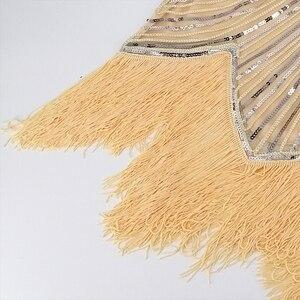 Image 5 - 1920s sukienka Flapper sukienka w stylu wielki Gatsby O Neck krótki kimonowy rękaw cekiny Fringe do kolan na imprezę sukienka Vestido De Verano letnie kobiety sukienka
