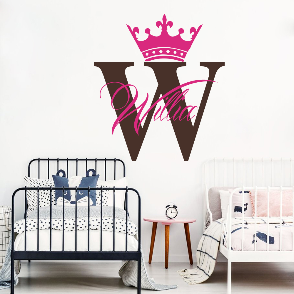 Custom Name Crown Prince Wall Decal Baby Nursery Personalized Queen King Princess Sticker Kids Room Art LW273