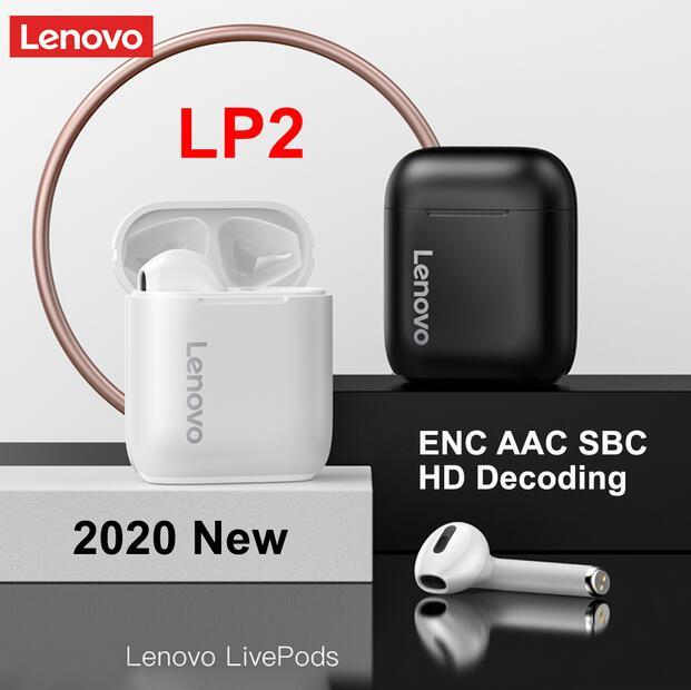 Беспроводные наушники Lenovo LP2 Lenovo QT81 Lenovo LP40 Bluetooth 5,0, Спортивная гарнитура с сенсорным управлением, влагозащищенные наушники с микрофоном