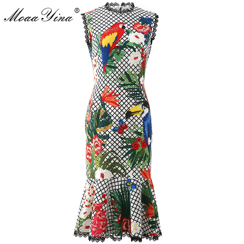 MoaaYina Fashion Designer Dress Women Spring Summer Plaid Print Sleeveless Mermaid Dress