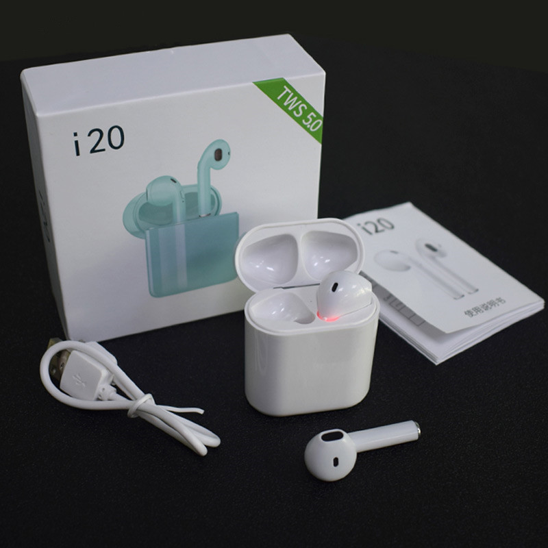 i20 TWS wireless headsets Bluetooth 5.0 earphone mini stereo earbuds headphones pk i7s i12 i16 i18 i200 I9000 tws for all phones