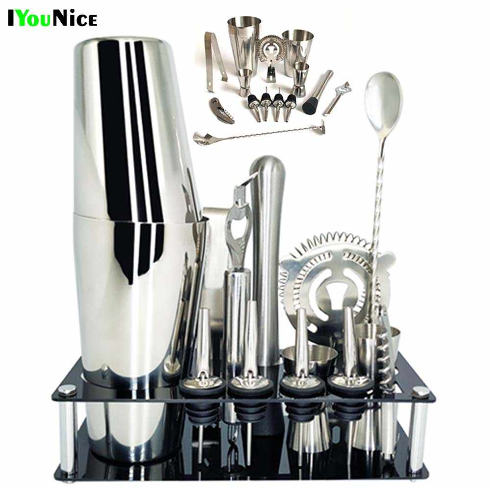 1-14 Pz/set 600ml 750ml In Acciaio Inox Cocktail Shaker Drink Mixer Bartender Browser Kit Bar Set Strumenti con il Vino Rack Stand