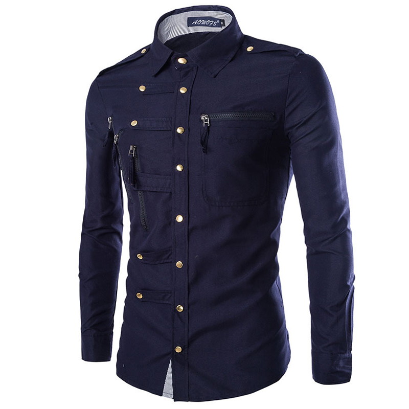 2020 England Style Mens Formal Dress Shirts Vinatge Military Style Muti Button Man Shirt Spring Male Tuxedo Shirt Plus Size A442