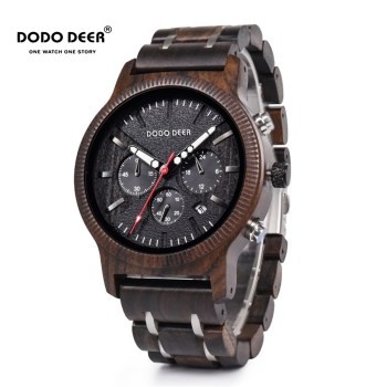 DODO DEER Stainless Steel Wood Watch Men Calendar Timepieces Chronograph Quartz Watches relogio masculino In Wooden Boxes C08