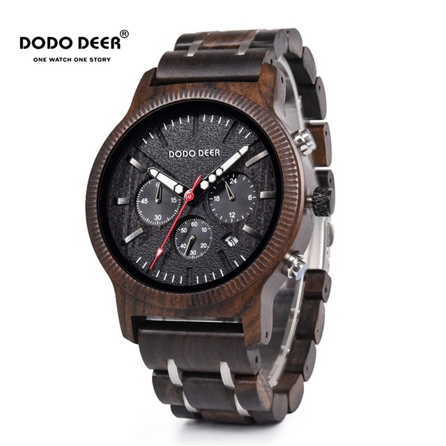 DODO DEER Stainless Steel Wood Watch Men Calendar Timepieces Chronograph Quartz Watches relogio masculino In Wooden Boxes OEM