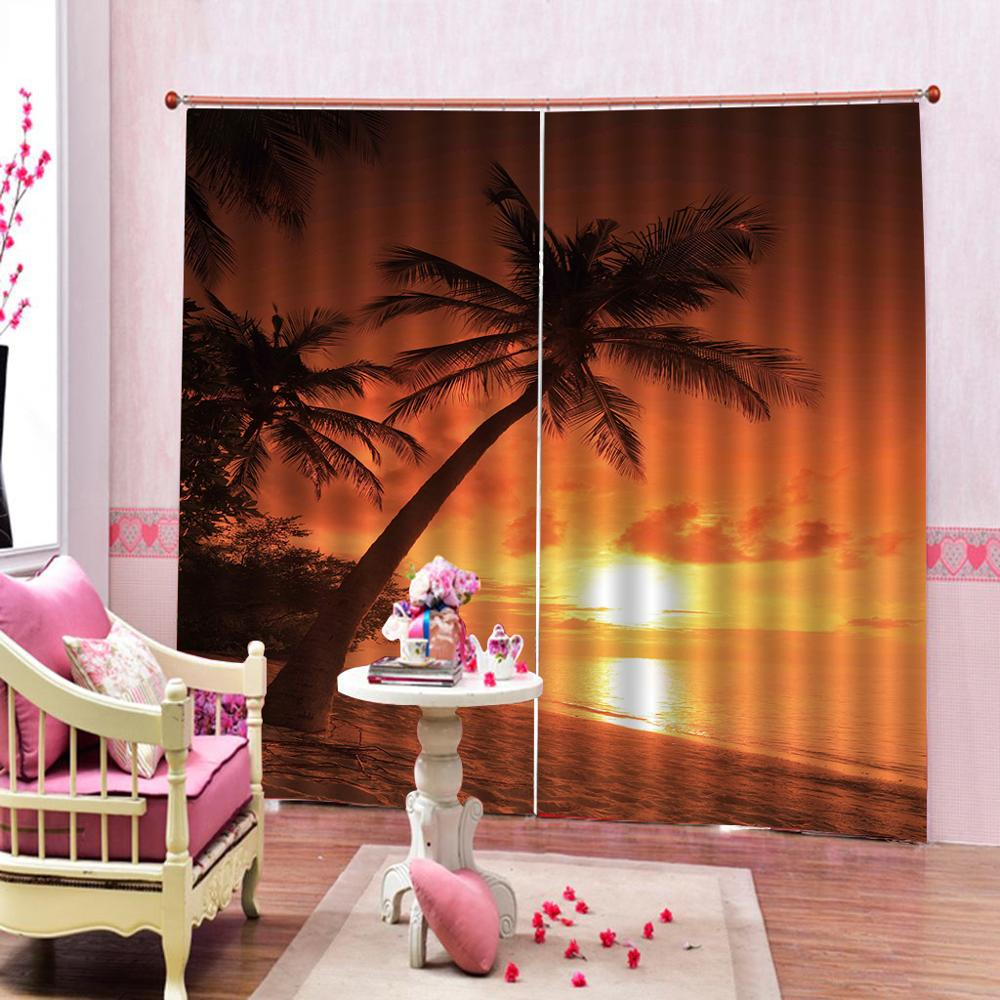 Personnalisé 3D rideau fenêtre coucher de soleil et beau paysage de bord de mer beaux et pratiques rideaux occultants dans le salon