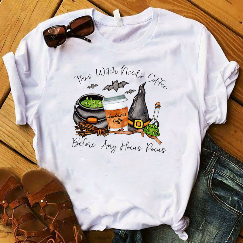 Women T Womens Graphic Witch Coffee Hocus Pocus Fall Halloween Thanksgiving Tee Shirt Ladies Top Tshirt Female Clothes T-shirt