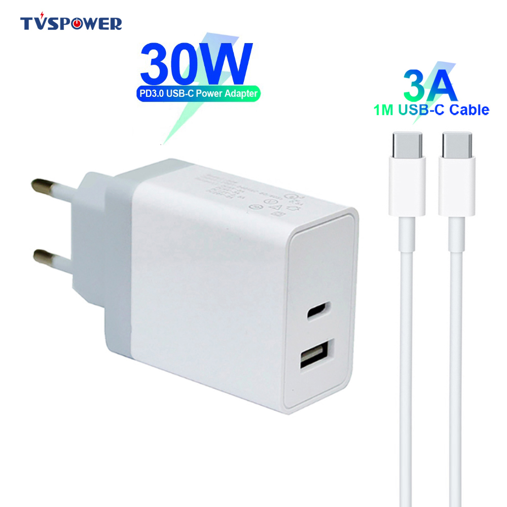 30W 2-PORT USB HOME WALL AC CHARGER ONE FAST PD TYPE-C PORT For PHONES /& TABLETS