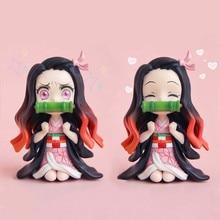 Anime GK Figure Demon Slayer Kimetsu No Yaiba Kamado Nezuko Cute Toys for Kids Collectible Model PVC Doll