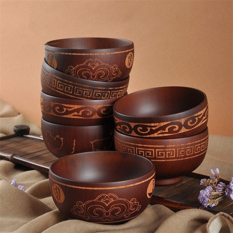 Mongolian style Wooden Bowl Mongolia Soup Salad Rice Noodle Bowls Ethnic Style Natural Wood Kids Original Wood Bowl Tableware