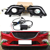 Car LED Daytime Running Light Fog Light DRL Kit For Mazda 6 Atenza 2014 2015 Front Bumper Day Light Turn Signal Lamp with Wire