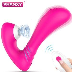 PHANXY Clitoris Stimulator Dildo Clitoris Sucker G Spot Powerful Sucking Vibrator For Women Clit Nipple Oral Sex Toys for Adult