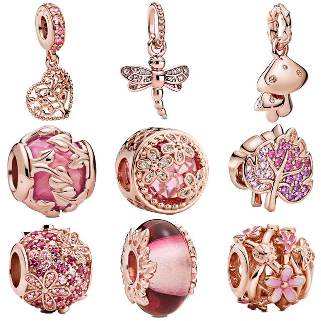 2020 Rose Gold  925 Sterling Silver charms Sparkling Leaf Flower Dangle Charms fit Original European Bracelets Women DIY Jewelry 1