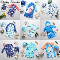 Jungen Bademode UPF50 Langarm Infant Kleidung Ein Stück Badeanzug Kappe Set Kinder Schwimmen Anzug Kleinkind Jungen Strand Tragen