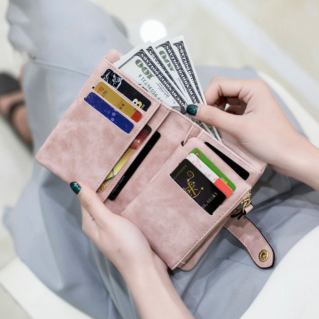 [LFMB]Women Wallet Female  Leather Wallet Matte Wallet Short Cartera Mujer Cute Tri-fold Multi-card Female Wallet 1