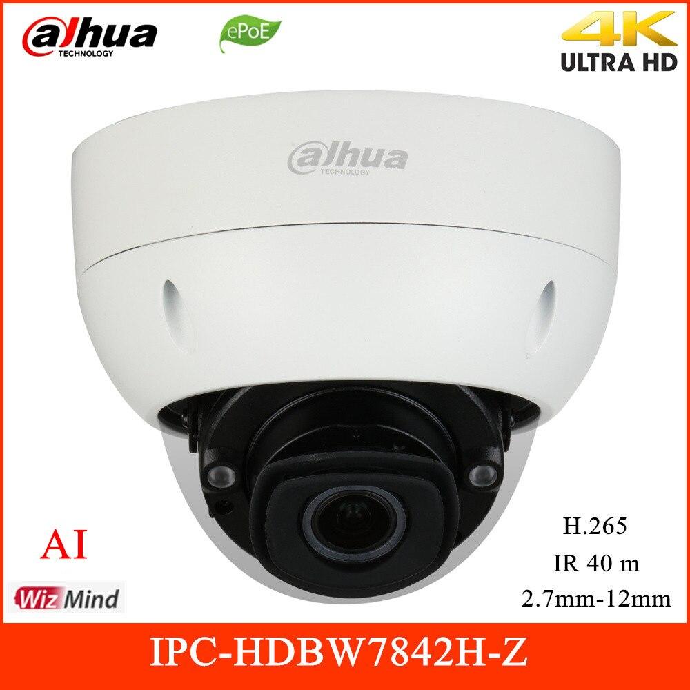 Nouveau Dahua 8MP AI IP caméra IR 40m H.265 2.7-12mm soutien personnes comptant POE caméra de Surveillance vidéo extérieure IPC-HDBW7842H-Z