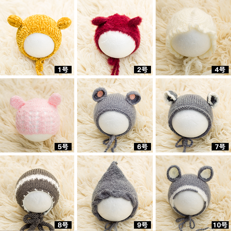 2020 Knitted Soft Newborn Photography Hat Baby Photoshoot Handmade Beanie Infant Photo Bonnet Studio  Accessories