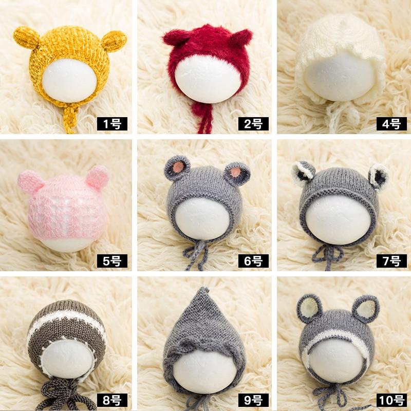 2020 Knitted Soft Newborn Photography Hat Baby Photoshoot Handmade Beanie Infant Photo Bonnet Studio  Accessories