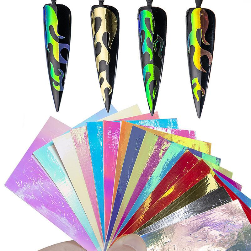 1Pcs Nail Sticker Fire Flame Hollow Nail Decals New Quality Nail Patch Professional Manicure Stickers Portable Nail Glitter Art