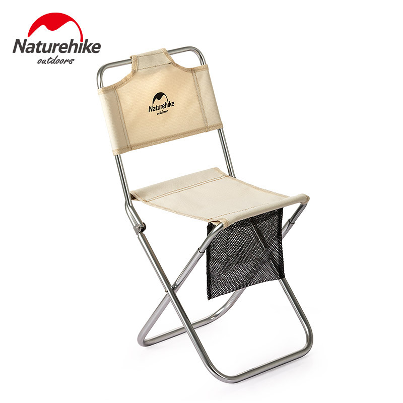 NH Naturehike Outdoor Portable Folding Chair Picnic Camping Wear-Resistant Aluminum Alloy Leisure Chair Backrest Fishing Chair S
