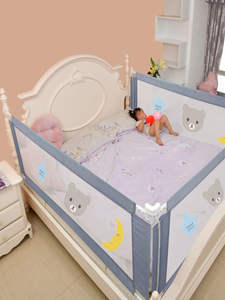 Playpen Rails Fence Bed Barrier Gate Crib Safety Foldable Security Baby Kids Children's