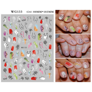 Image 2 - 1 Pcs Abstract Line Pattern Eye Design 3D Nail Sticker Nail Slider Art DIY Decorations Sticker for Manicure DIY Adhesive Tips
