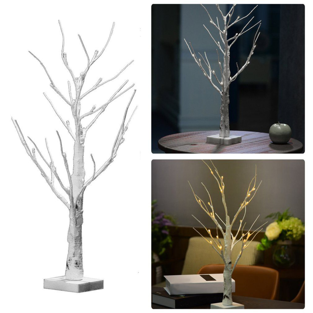 60cm Silver Birch LED Tree Lamp Landscape Table Night Light Festival Christmas Decoration Gift White/Warm White