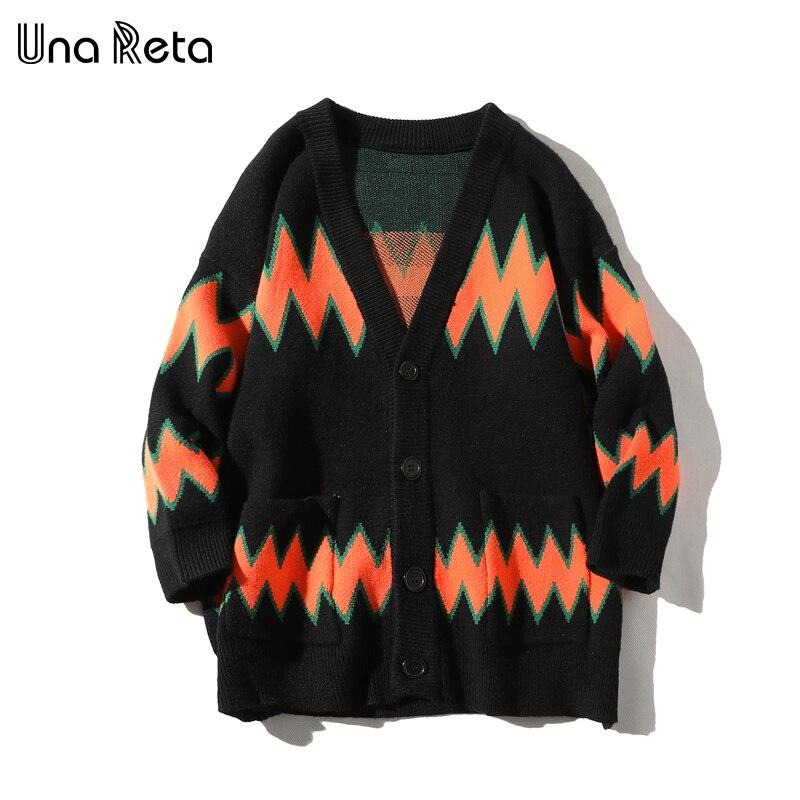 Una Reta Sweater Men New Autumn Winter Casual V  Neck Single-breasted Cardigan Men's Sweater Plus Size Geometric Sweater Men