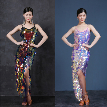Sexy Women Big Sequin Latin Dance Dress Ladies Dancing Costumes Night Club Dancewear Set Competition Latino Long Dresses