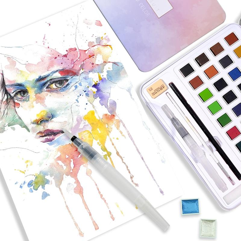 Splendi 12/36/48 Colors Solid Watercolor Paints Set Pearlescent Water Color Pigment Suit Metallic Glitter Acuarela Art Supplies