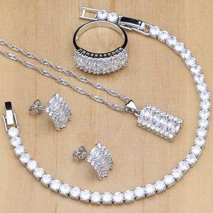 Image 1 - Женский ювелирный комплект из колье, серёг и браслета, из серебра 925 пробы
