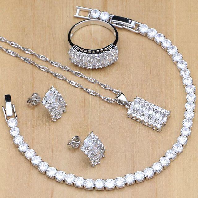 Женский ювелирный комплект из колье, серёг и браслета, из серебра 925 пробы