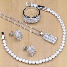Doğal gümüş 925 gelin takı setleri beyaz zirkon kadınlar için kristal küpe kolye yüzük bilezik kolye kitleri