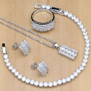 Image 1 - Natural Silver 925 Bridal Jewelry Sets White Zircon Crystal For Women  Earrings Pendant Rings Bracelet Necklace Kits