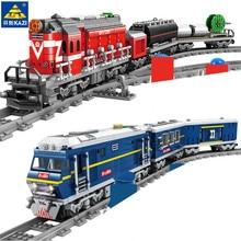 Большой поезд с дизельным рельсом, грузовой с дорожками, модель, городские строительные блоки, наборы, техника, игрушки для детей