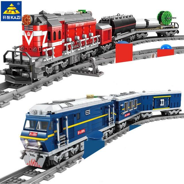 Grande cargaison de Train ferroviaire Diesel à moteur de Train avec des voies modèle blocs de construction de ville définit des briques de Brinquedos techniques jouets pour enfants