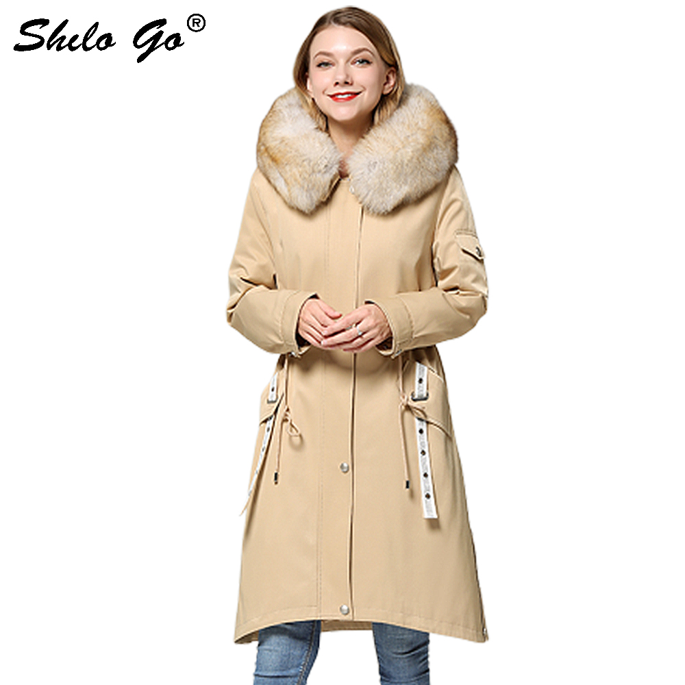 Fur Parkas Highstreet Real Fox Fur Collar Hooded Fur Lining Long Coat Women Winter Casual Rivet Detail A Line Outwear Female image