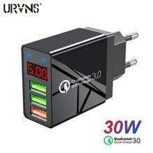 Urvns 30w 48 display digital qc3.0 usb carregador rápido para iphone adaptador 3a carregamento rápido parede carregadores do telefone para samsung xiaomi
