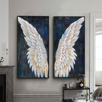Large canvas wall art vertical handmade vintage angel wings modern oil painting living room decoration mural home