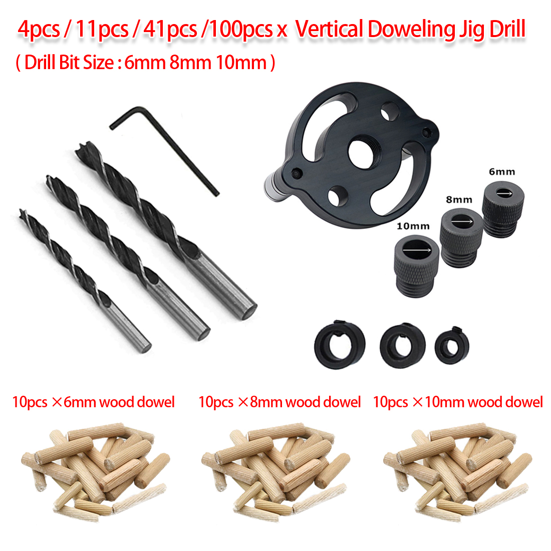 Woodworking Pocket Hole Jig 4pcs/11pcs/41pcs/100pcs 6mm 8mm 10mm Vertical Doweling Jig Drill Guide For Locator Hole Puncher