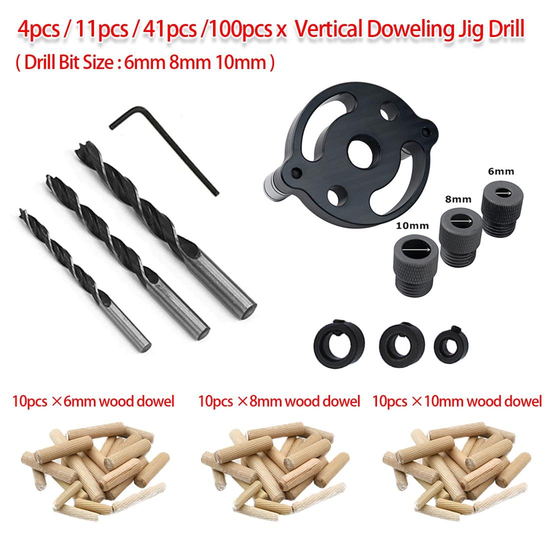 Woodworking Pocket Hole Jig 4pcs/11pcs/41pcs/100pcs 6mm 8mm 10mm Vertical Doweling Jig Drill Guide For Locator Hole Puncher