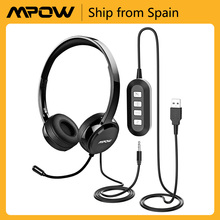 Mpow PA071 Wired Headset with Mic Noise Reduction 3.5/USB Plug for Call Office Skype Flexible Headphones for Phone PC Pad Laptop