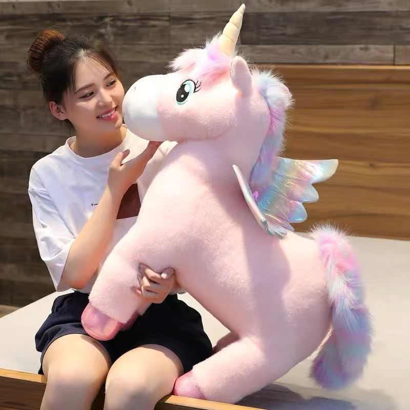 30 ~ 80cm ייחודי זוהר כנפי Unicorns בפלאש צעצוע ענק Unicorn ממולא בעלי חיים בובת פלאפי שיער טוס סוס צעצוע עבור ילד חג המולד מתנה