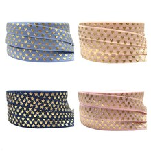 Home-Decoration-Accessories Foe Ribbon Sewing Star-Print Elastic Gold Headwear Fold-Over